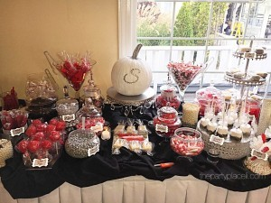 Fall themed Candy Buffet With bling pumpkin