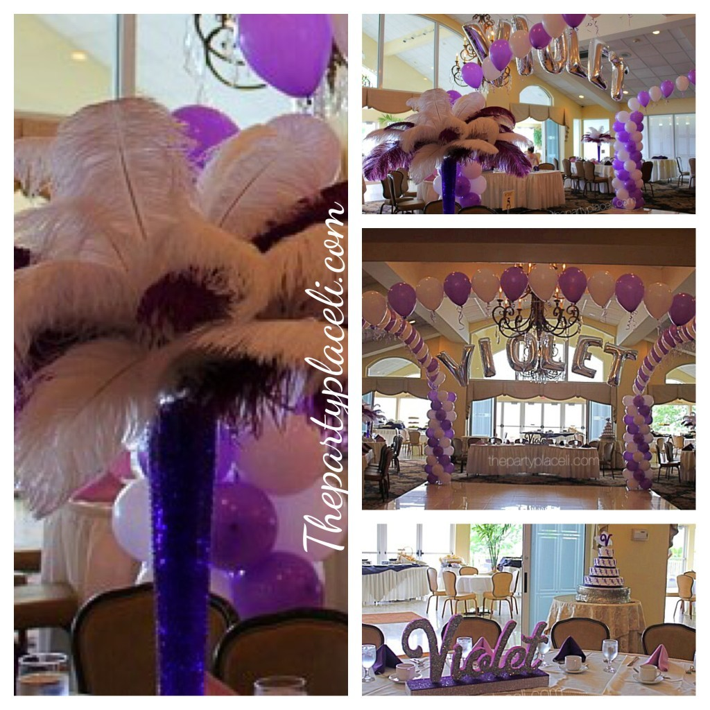 Gorgeous Name Arch & Balloon Columns with Feather Centerpieces