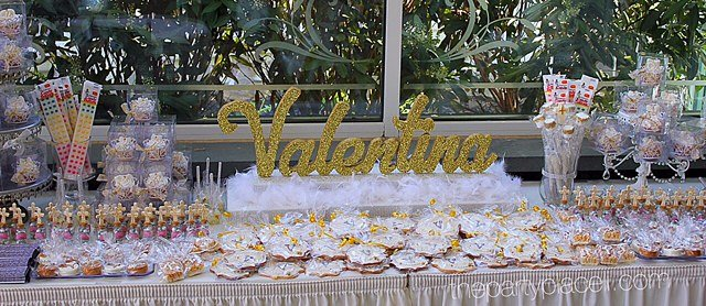 First Communion Candy Buffet with Name Centerpiece Gold and Silver