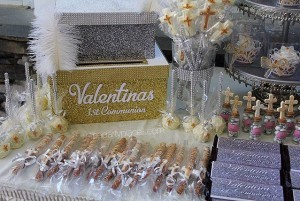 First Communion Candy Buffet and Card Box Gold and Silver