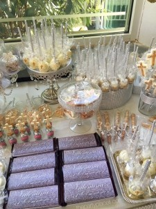 First Communion Candy Buffet Gold and Silver