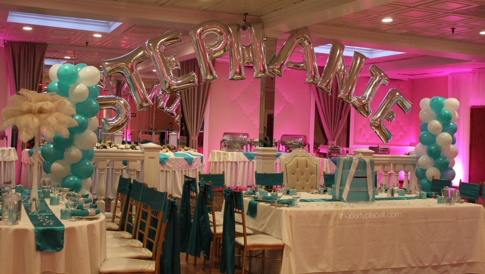 Tiffany Blue Swirl Columns with Name Arch