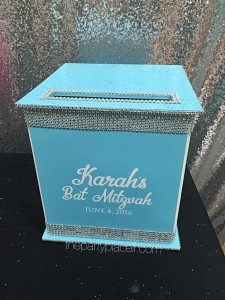 Turquoise card box for Bat Mitzvah