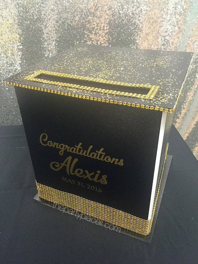 Black And Gold Graduation Card Box The Party Place Li The Party