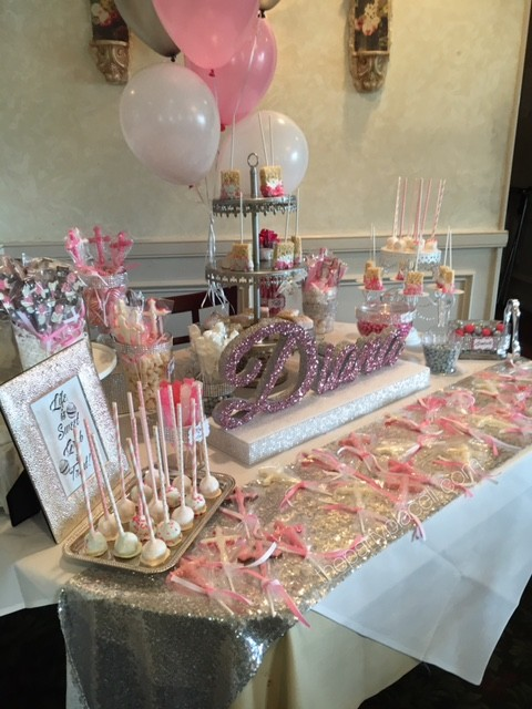 pink &white candy buffet communion