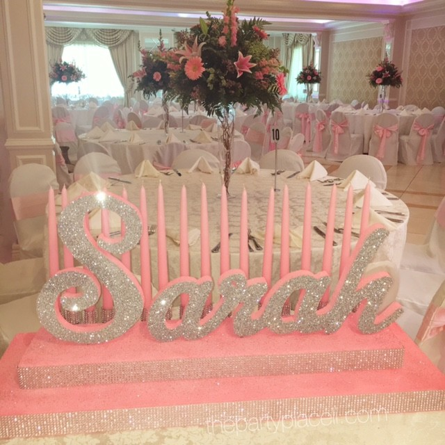 pink and silver candelabra sweet 16