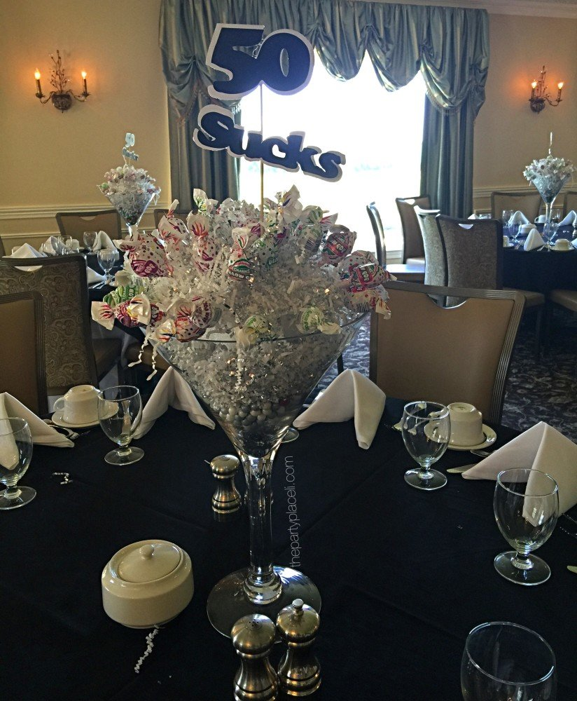 50th birthday Martini glass candy centerpiece