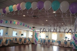 Dance floor balloon columns arch