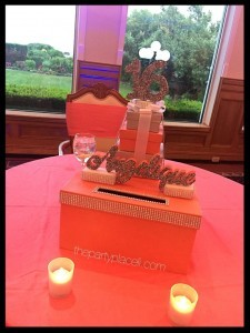 Coral Sweet 16 Card Box
