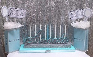 Tiffany theme candelabra centerpiece