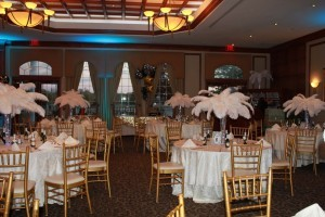 Elegant White Feather Centerpieces with Lighting