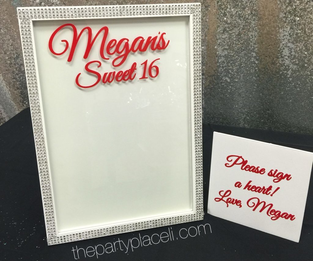 Sweet 16 sign in frame hearts