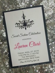 Chandelier Sweet 16 Invitation
