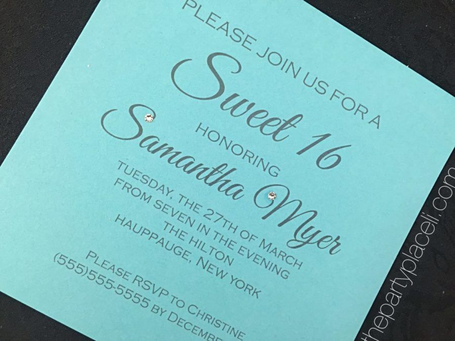 Tiffany Blue Sweet 16 with Crystals Invitations The Party Place LI