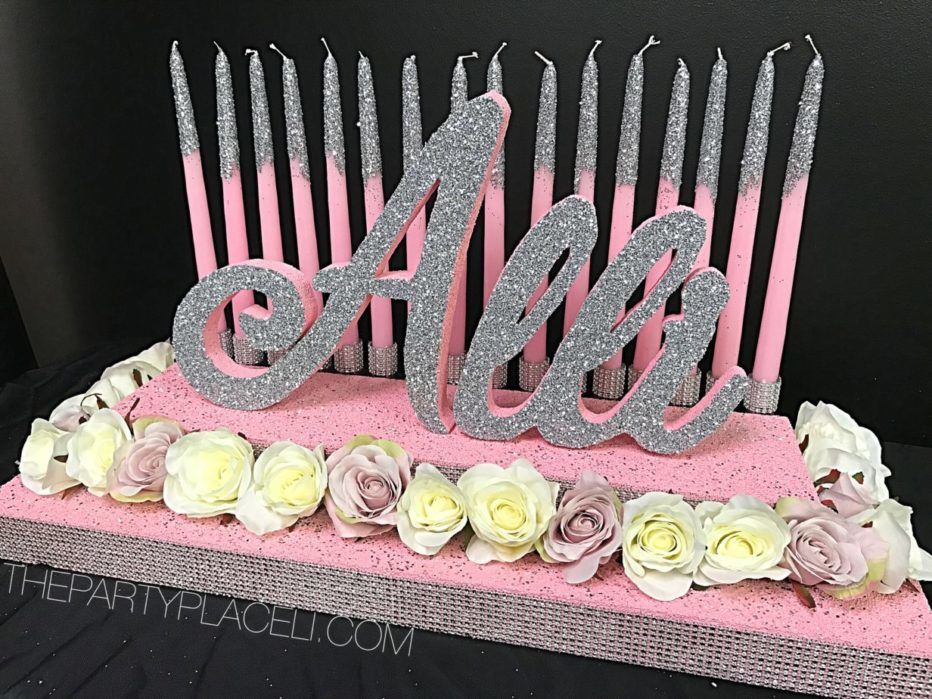 SWEET 16 CANDELABRA PINK AND CREME ROSES