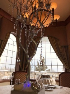 Manzanita Tree Centerpieces With Bling Pumpkins