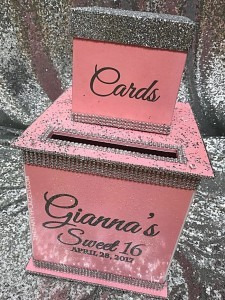 Pink sweet sixteen card bo