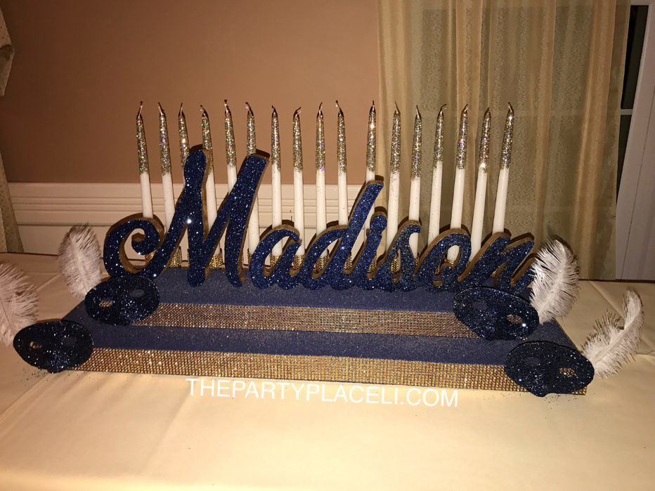 Masquerade theme candleabra sweet 16