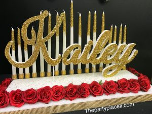 Red roses tiered candelabra