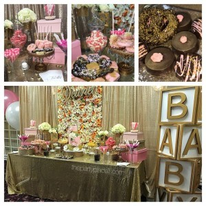 Baby Shower Candy Buffet with Flower Wall