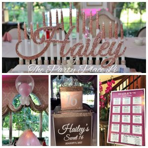 Rose gold sweet 16 decorations