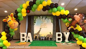 Baby shower letters and balloon arch