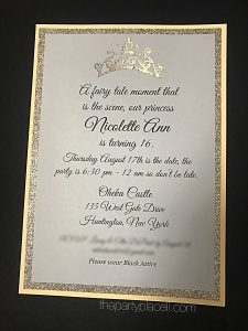 Sweet 16 invitation princess