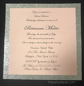 Sweet 16 invitation With crystals