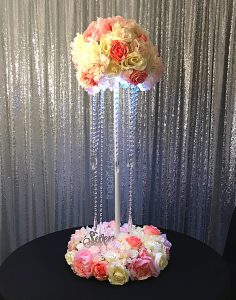 Tiered wedding floral centerpiece with crystals