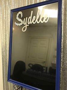 Wood frame sign in board with mirror accent initial