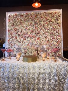 flower wall candy buffet