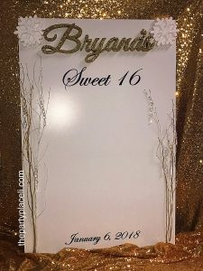 Winter wonderland sweet sixteen sign in board