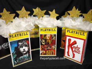 Bat mitzvah playbill musical themed centerpieces