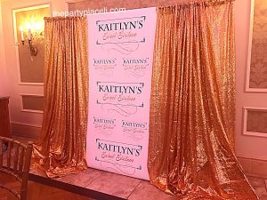 Gold sequin back drop sweet 16