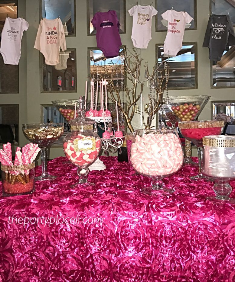 Baby Show At Jonathan S In New Hyde Park Specialty Rosette Hot Pink Table Cloth Gold Glimmer Manzanita Tree Hand Dipped Marshmallows And Pretzels With